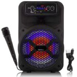 Tronica JHAKAAS 8-inches Bluetooth Karaoke Party Speaker Powered by a Rechargeable Battery with Wired Mic 1000W P.M.P.O