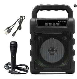 TRONICA Kid's Joy-Rechargeable Party Speaker with Karaoke MIC/Pen Drive/Bluetooth Support ( Grill Colour May Vary )